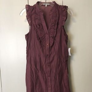 Pretty plum dress with fun ruffle top